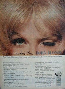 Clairol Born Blonde Lady Winking Ad 1965.