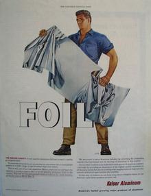 Kaiser Aluminum Man Holding Aluminum Foil Ad 1954