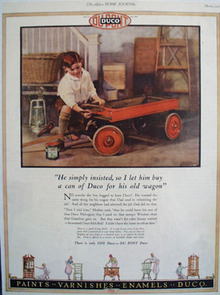 Duco Paint Boy Painting Wagon Ad 1927