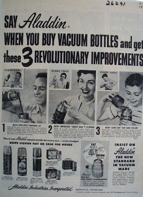 Aladdin Vacuum Bottles New Standard Ad 1954