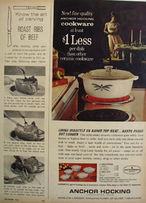 Anchor Hocking Keeps Foods Hot Longer Ad 1964