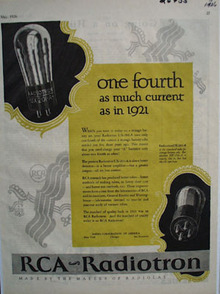 RCA Radiotron One Fourth The Current Ad 1926