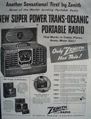 Zenith Radio Trans Oceanic Portable Radio Ad 1946