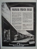 American Railroads Prewar Prices Here Ad 1943