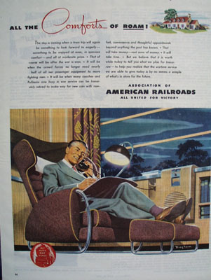 Assn American Railroads Comfort of Roam Ad 1944