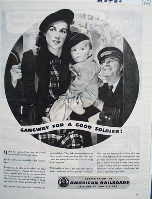 Assn American Railroads For Good Soldier Ad 1944