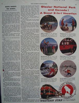 Great Northern RR Glacier National Park Ad 1954