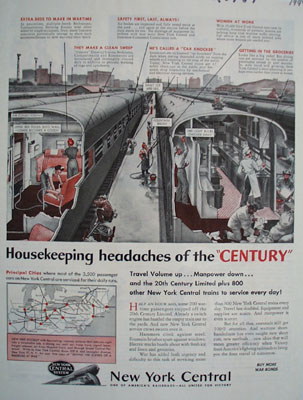New York Central Housekeeping Headaches Ad 1944