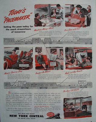 New York Central Todays Pacemaker Ad 1945