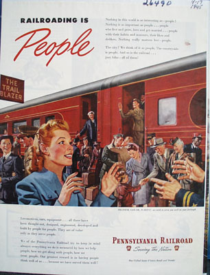 Pennsylvania Railroad Railroading Is People Ad 1945