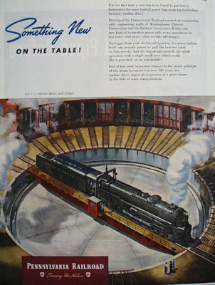 Pennsylvania Railroad Something New On Table Ad 1945