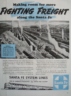 Santa Fe System Line Fighting Freight Ad 1944