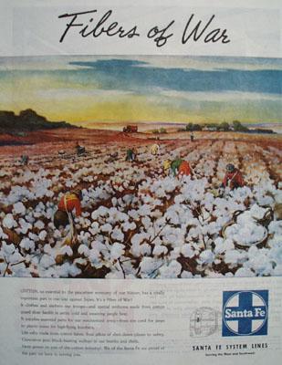 Santa Fe System Lines Fibers Of War Ad 1945