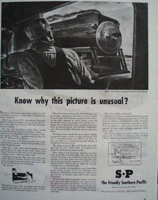 Southern Pacific Picture Is Unusual Ad 1944