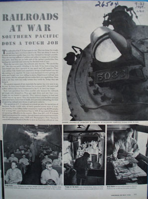 Southern Pacific Railroads At War Article 1942