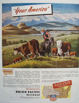 Union Pacific RR Promotes State of Montana Ad 1945