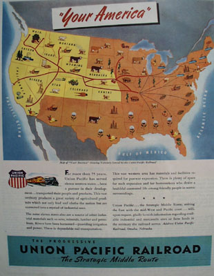 Union Pacific RR Map Of United States Ad 1945