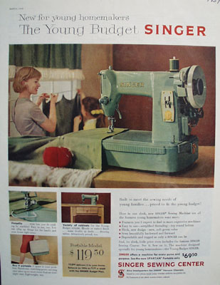 Singer Sewing Center Young Budget Ad 1959