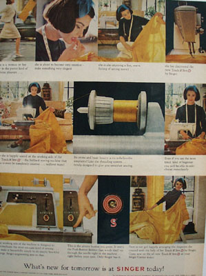 Singer Sewing Machine Whats New Tomorrow Ad 1964