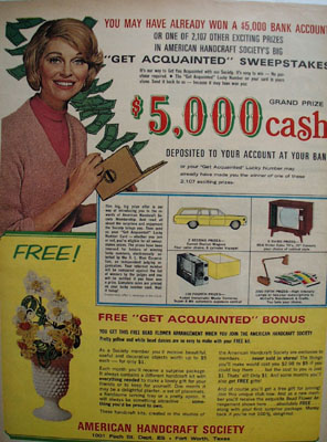 American Handcraft Get Acquainted Sweepstakes Ad 1967