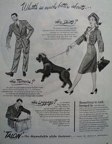 Talon Slide Fastener So Much Better Ad 1945