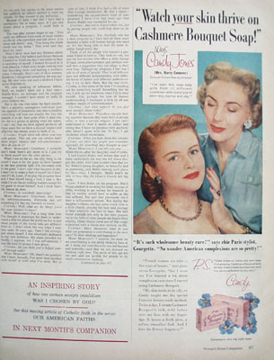 Cashmere Bouquet Soap And Mrs. Harry Conover Ad 1954