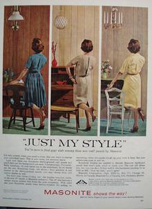 Masonite Corp 3 Styles Paneling Ad 1961