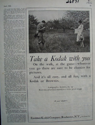Eastman Kodak Take A Kodak With You Ad 1926