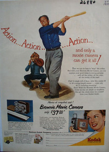 Eastman Kodak Man With Bat Ad 1954