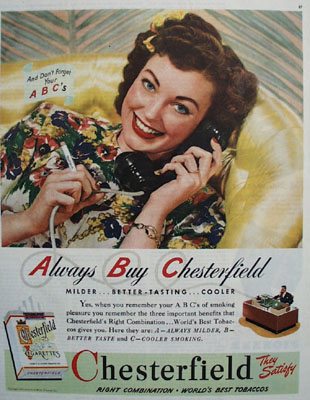 Chesterfield And Woman On Phone Ad 1945