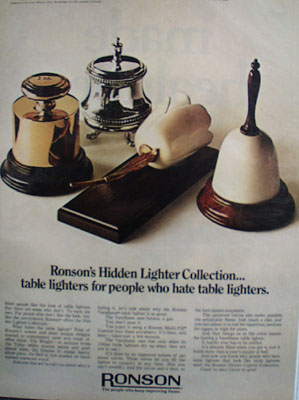 Ronson Hidden Lighter Collection Ad 1968