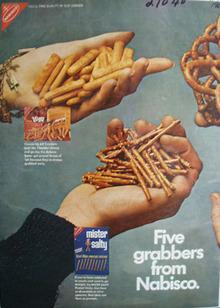 Nabisco Misty Salty Pretzels Fie Grabbers Ad 1968