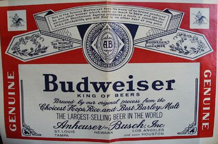 Budweiser Placemat 1965