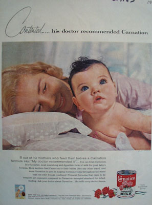 Carnation Contented Baby Ad 1957