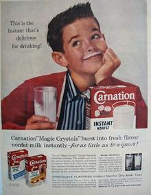 Carnation Instant Boy Milk on Upper Lip Ad 1958