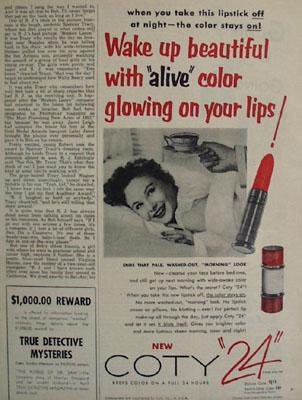 Coty Lipstick Wake Up Beautiful Ad 1955