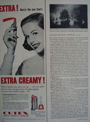 Cutex Extra Creamy Lipstick Ad 1957
