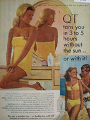 QT Tanning Lotion Tans 3 to 5 Hours Ad 1968