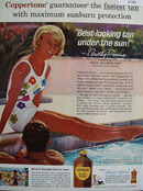 Coppertone Tanning Lotion And Dorothy Provine Ad 1964