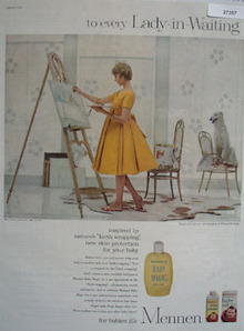 Mennen And Lady Artist In Yellow Dress Ad  1959