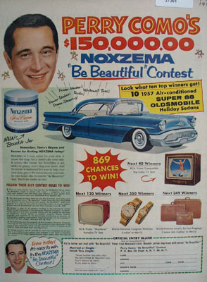 Noxema Skin Cream And Perry Como Ad 1957