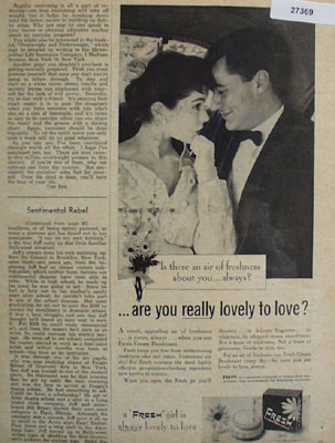 Fresh Deodorant Lovely to Love Ad 1955