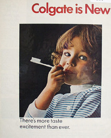 Colgate Taste Excitement Girl With Toothbrush Ad 1967