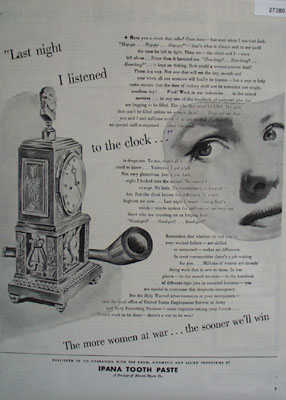 Ipana Tooth Paste Listen To The Clock Ad 1944