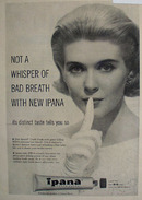 Ipana Tooth Paste Not A Whisper Ad 1958