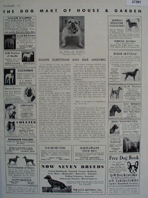 Dog Mart of House And Garden Ad 1931