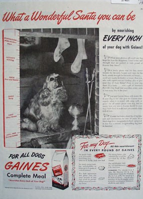 Gaines Dog Meal Christmas Ad 1945