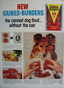 Gaines Burgers Without The Can Ad 1964
