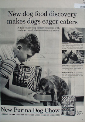 Purina Dog Chow Makes Dogs Eager Eaters Ad 1957