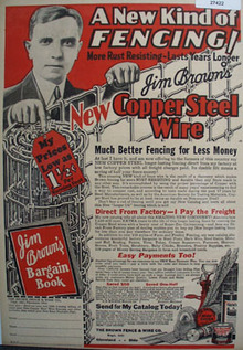 Brown Fence And Wire New Kind Fencing Ad 1930